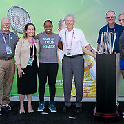 March 9, 2015, Indian Wells, California:<br /> WTA Draw Ceremony participants pose for a photograph at the Indian Wells Tennis Garden in Indian Wells, California Monday, March 9, 2015. From left to right: Tom Barnes, Laura Ceccarelli, Taylor Townsend, Raymond Moor, Steve Simon, Donna Vekic.<br /> (Photo by Billie Weiss/BNP Paribas Open)