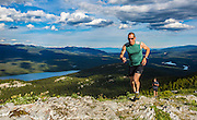 Elden Pfeiffer leads Thomas Moore up Grey Mountain during a cross country running race on June 6, 2016 near Whitehorse, Yukon. With more than 700 kilometres of trail, Whitehorse is a trail-user's paradise, especially in the summer when there is a constant supply of daylight.