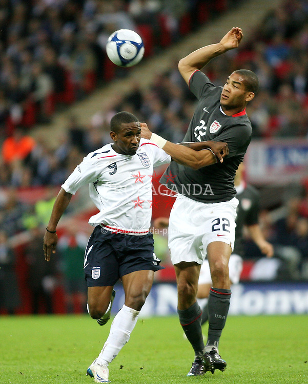 London, England - Wednesday, May 28, 2008: England's Jermain Defoe in action against USA's Oguchi Onyewu at Wembley Stadium. (Pic by Chris Ratcliffe/Propaganda)