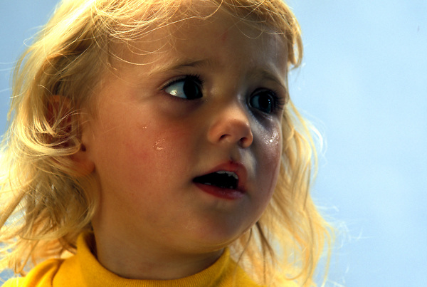 Close-Up of Young Girl Crying