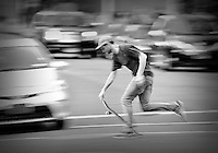 Skater rides through downtown Manhattan