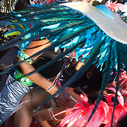 Whining under the feathers. Portobello Road is rammed with party-goers and spectators. The Notting Hill Carnival has been running since 1966 and is every year attended by up to a million people. The carnival is a mix of amazing dance parades and street parties with a distinct Caribbean feel.