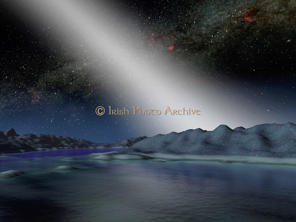Artist's concept of what the night sky might look like from a hypothetical alien planet in a star system with an asteroid belt 25 times as massive as the one in our own solar system. In our solar system, anybody observing the skies on a moonless night far from city lights can see the sunlight that is scattered by dust in our asteroid belt. Called zodiacal light and sometimes the 'false dawn,' this light appears as a dim band stretching up from the horizon when the Sun is about to rise or set. The light is faint enough that the disk of our Milky Way galaxy remains the most prominent feature in the sky. The Milky Way disk is shown perpendicular to the zodiacal light