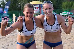 04.07.2013, Lake Szelag, Stare Jablonki, POL, FIVB Beach Volleyball Weltmeisterschaft, im Bild Jubel Britta Buethe (#2 GER), Karla Borger (#1 GER) nach dem Sieg, // during the FIVB Beach Volleyball World Championships at the Lake Szelag, Stare Jablonki, Poland on 2013/07/04. EXPA Pictures © 2013, PhotoCredit: EXPA/ Eibner/ Kurth ***** ATTENTION - OUT OF GER *****