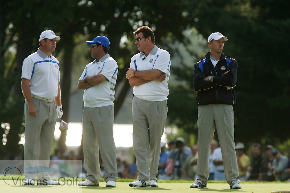 Nick Faldo and Jose Maria Olazabal,  the morning foursomes on the first day at the 37th Ryder Cup Matches, 2008, Valhalla GC, Louisville, Kentucky.<br /> Picture Credit: Mark Newcombe / visionsingolf.com