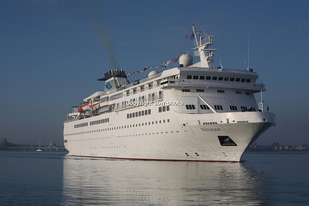Voyages of Discovery's newly refurbished ship mv Voyager arrives in Portsmouth, UK, ahead of it's naming ceremony on Tuesday..