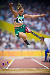"BUSTAMANTE Perla of Mexico competes in the women's F42 Long Jump during the Beijing 2008 Paralympic Games; National ""Bird's Nest"" Stadium, Beijing Olympic Green, China, 8th September 2008;"