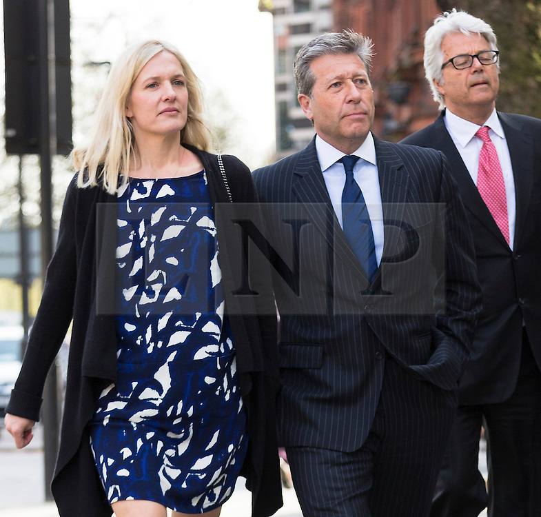 © Licensed to London News Pictures. 16/04/2015. London, UK. DJ, Neil Fox arrives at Westminster Magistrates Court in London with his wife Vicky. appears charged with nine alleged sexual offences, involving six victims, three of whom were juveniles at the time the alleged offences took place.. Photo credit : Vickie Flores/LNP