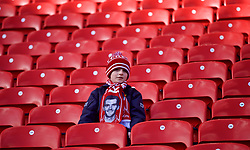 LIVERPOOL, ENGLAND - Saturday, February 9, 2019: A young Liverpool supporter wearing a scarf featuring Andy Robertson before the FA Premier League match between Liverpool FC and AFC Bournemouth at Anfield. (Pic by David Rawcliffe/Propaganda)