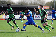 AFC Wimbledon striker Andy Barcham (17) dribbling during the EFL Sky Bet League 1 match between AFC Wimbledon and Plymouth Argyle at the Cherry Red Records Stadium, Kingston, England on 21 October 2017. Photo by Matthew Redman.