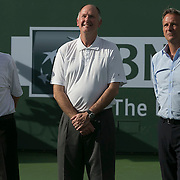 BNP Paribas Open CEO, Raymond Moore, tournament director, Steve Simon, and ATP President, Chris Kermode, present an award for the ATP Tournament of the Year at the Indian Wells Tennis Garden in Indian Wells, California on Sunday, March 15, 2015.<br /> (Photo by Billie Weiss/BNP Paribas Open)