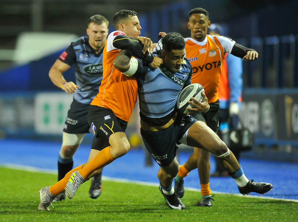 Cardiff Blues' Rey Lee-Lo in action in todays match<br /> <br /> Photographer Mike Jones/Replay Images<br /> <br /> Guinness PRO14 Round 14 - Cardiff Blues v Cheetahs - Saturday 10th February 2018 - Cardiff Arms Park - Cardiff<br /> <br /> World Copyright © Replay Images . All rights reserved. info@replayimages.co.uk - http://replayimages.co.uk