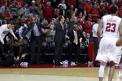 20 March 2017:  Knights bench celebrates the win during a College NIT (National Invitational Tournament) 2nd round mens basketball game between the UCF (University of Central Florida) Knights and Illinois State Redbirds in  Redbird Arena, Normal IL<br /> <br /> Jamill Jones leftmost coach