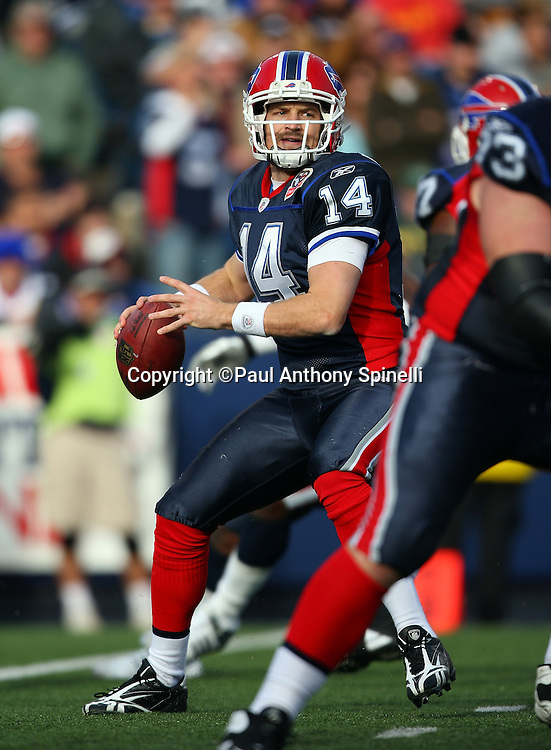 Buffalo Bills quarterback Ryan Fitzpatrick (14) throws a pass during the NFL football game against the Houston Texans, November 1, 2009 in Orchard Park, New York. The Texans won the game 31-10. (©Paul Anthony Spinelli)