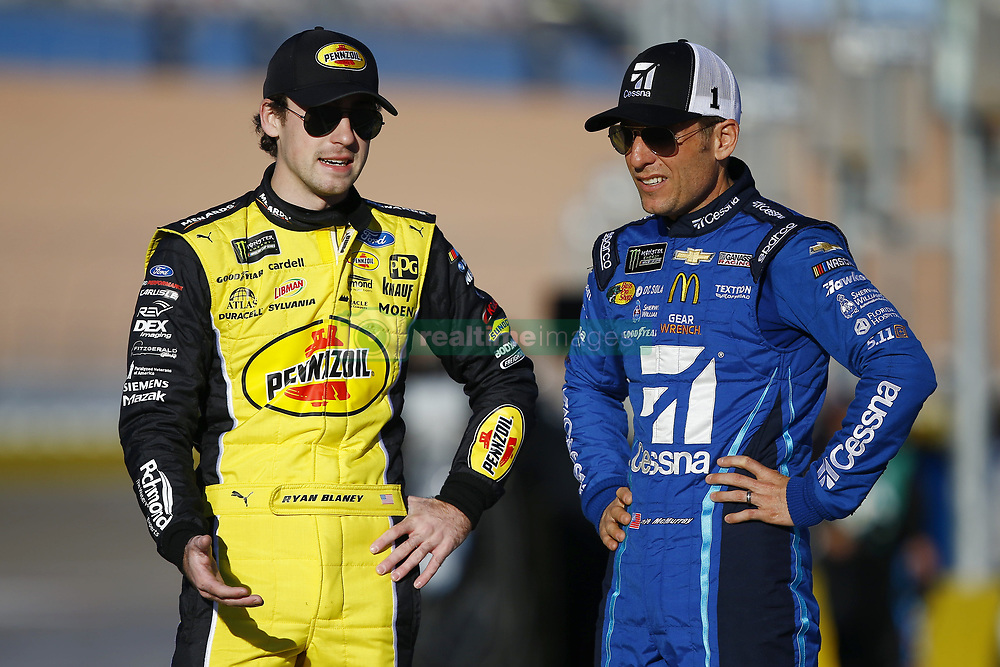 March 2, 2018 - Las Vegas, Nevada, United States of America - March 02, 2018 - Las Vegas, Nevada, USA: Jamie McMurray (1) and Ryan Blaney (12) hang out on pit road before qualifying for the Pennzoil 400 at Las Vegas Motor Speedway in Las Vegas, Nevada. (Credit Image: © Chris Owens Asp Inc/ASP via ZUMA Wire)