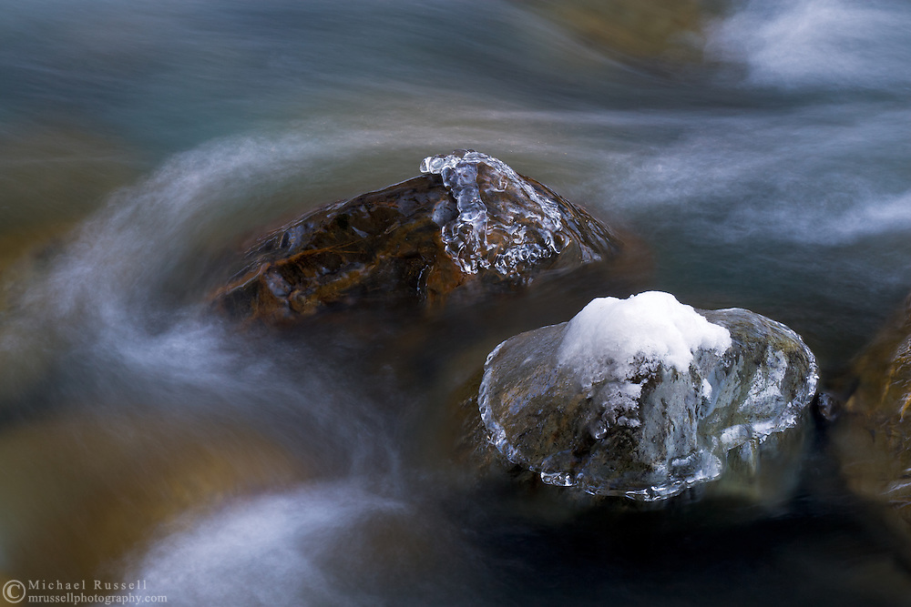 Winter abstract on the Chilliwack River near Chilliwack Provincial Park in Chilliwack, British Columbia, Canada