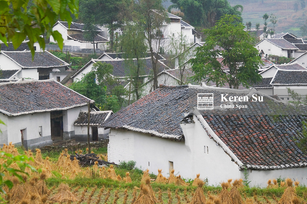 Village houses with tiled roofs, Xingyi, Guizhou, China