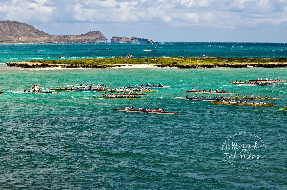 """Duke Kahanamoku Long Distance Canoe Race start off """"Flat Island"""", Kailua Beach Park, Oahu, Hawaii"""