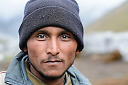 A Nepali worker helping to build a helicopter landing pad at Kedarnath, a year after the flood of 2013.
