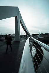 Tradeston Footbridge across River Clyde in Glasgow Scotland UK