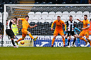 Jack Baird of St Mirren strike on goal during the Ladbrokes Scottish Premiership match between St Mirren and Livingston at the Simple Digital Arena, Paisley, Scotland on 2nd March 2019.