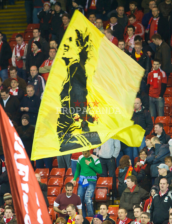 LIVERPOOL, ENGLAND - Tuesday, March 10, 2009: Liverpool's supporters on the Spion Kop against Real Madrid during the UEFA Champions League First Knockout Round 2nd Leg match at Anfield. (Photo by David Rawcliffe/Propaganda)