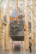 Phyllida Barlow's new work 'dock' is the new installation, which fills Tate Britain's Duveen Galleries. Here untitled:dock:Shungblocks. It has been created as part of the annual Tate Britain Commission, in which a leading contemporary artist is invited to develop a work inspired by Tate's Collection. Phyllida Barlow has worked for over four decades with inexpensive, everyday materials to create large sculptural installations and bold and colourful three-dimensional collages. Tate Britain, Millbank, London, UK 31 March 2014.   Guy Bell Photography, 07771 786236, guy@gbphotos.com