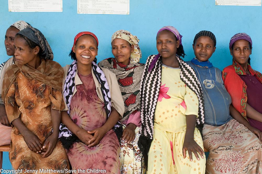 Ethiopia 2008  Gemeto Kebele village. pregnant women wait for antenatal care