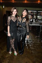 Left to right, SAI BENNETT and ZARA MARTIN at the Lancôme BAFTA Dinner held at The Cafe Royal, Regent's Street, London on 6th February 2015.
