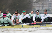 London, Great Britain, Cambridge, Listo left to right, Cox Hugo RAMAMBASON, Ben RUBLE, Henry HOFFSHOT, Vencent BERTRAM and Clemens AUERSPERG, during  the BNY Mellon, 2016 University Men's Boat Race, Trail Eights Race.  Putney to Mortlake. ENGLAND. <br /> <br /> Sunday 13.12.2015<br /> <br /> [Mandatory Credit; Peter Spurrier/Intersport-images]<br /> <br /> CUBC Trial VIII's between FUERTE on Surrey and LISTO on Middlesex<br /> <br /> FUERTE, Bow, Peter Carey, 2, Patrick Elwood, 3, Alister Taylor, 4, Peter Rees, 5, Charlie Fisher, 6, Ali Abbasi, 7, Luke Juckett, Stroke, Lance Tredell, Cox, Ian Middleton<br /> <br /> LISTO, Bow, Piers Kasas, Felix Newman, 3, Sam Ringer, 4, Joe Carroll, 5, Clemens Auersperg, 6, Vincent Bertram, 7, Henry Hoffstot, Stroke, Ben Ruble, Cox, Hugo Ramambason