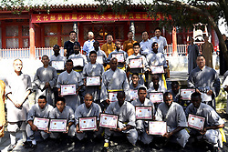 DENGFENG, Sept. 24, 2016 (Xinhua) -- African apprentices pose for a group photo during the graduation ceremony at the Shaolin Temple on the Songshan Mountain in Dengfeng City, central China's Henan Province, Sept. 23, 2016. A total of twenty apprentices from Africa graduated here on Friday after three-month training programs on Kungfu and Shaolin culture. (Xinhua/Feng Dapeng)(wyo) (Credit Image: © Feng Dapeng/Xinhua via ZUMA Wire)