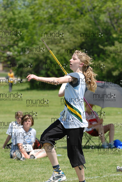 Hamilton, Ontario ---06/06/08--- Emma Gerster of Monarch Park in Toronto competes in the javelin at the 2008 OFSAA Track and Field meet in Hamilton, Ontario..Mark Butterwick
