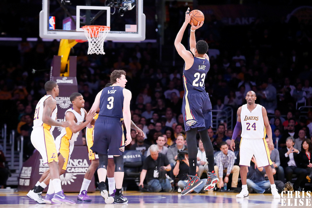 07 December 2014: New Orleans Pelicans forward Anthony Davis (23) takes a jump shot during the New Orleans Pelicans 104-87 victory over the Los Angeles Lakers, at the Staples Center, Los Angeles, California, USA.