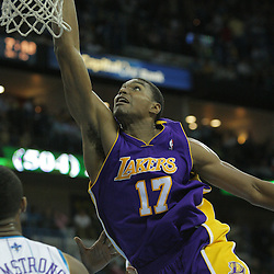 23 December 2008:  Los Angeles Lakers center Andrew Bynum (17) dunks during a 100-87 loss by the New Orleans Hornets to the Los Angeles Lakers at the New Orleans Arena in New Orleans, LA. .