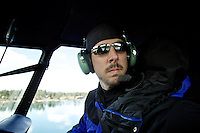 Scanning the area of Hayden Lake during a helicopter flight with Todd Stam on Monday, May 9, 2011 to capture images of flooding in the area.