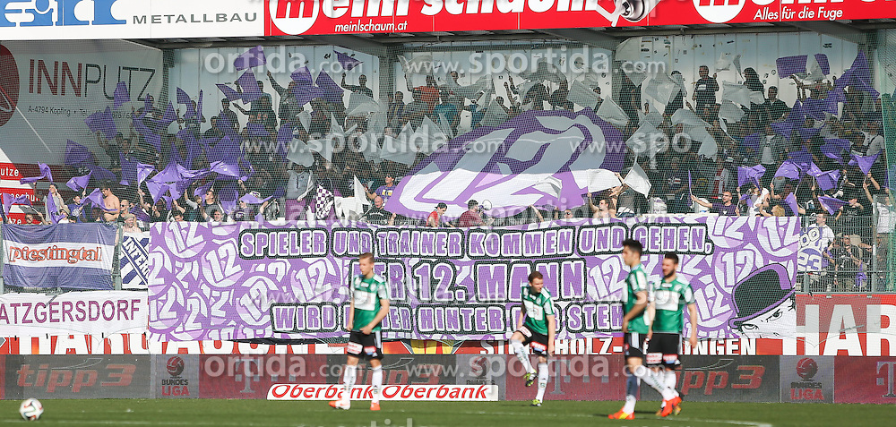 30.03.2014, Keine Sorgen Arena, Ried im Innkreis, AUT, 1. FBL, SV Josko Ried vs FK Austria Wien, 30. Runde, im Bild Fansektor Austria Wien // during Austrian Football Bundesliga Match, 30th round, between SV Josko Ried and FK Austria Wien at the Keine Sorgen Arena, Ried im Innkreis, Austria on 2014/03/30. EXPA Pictures © 2014, PhotoCredit: EXPA/ Roland Hackl