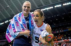 20-05-2016 JAP: OKT Italie - Nederland, Tokio<br /> De Nederlandse volleybalsters hebben een klinkende 3-0 overwinning geboekt op Italië, dat bij het OKT in Japan nog ongeslagen was. Het met veel zelfvertrouwen spelende Oranje zegevierde met 25-21, 25-21 en 25-14 / Myrthe Schoot #9, Judith Pietersen #8