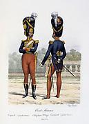 Members of the Swiss company of the Royal Guard,  1814-1817. From 'Histoire de la maison militaire du Roi de 1814 a 1830' by Eugene Titeux, Paris, 1890.