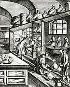 'Laboratory for the distillation of medicines.  From ''Magia naturalis', Nuremberg, 1715, by Johannis Baptista della Porta. First edition 1558.'