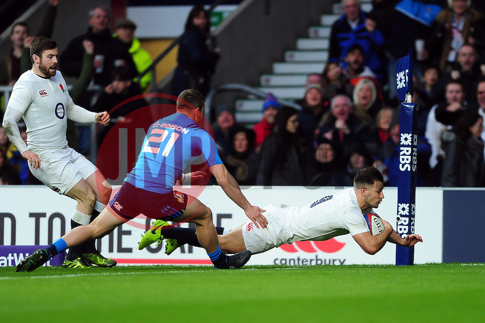 Danny Care of England dives for the try-line - Mandatory byline: Patrick Khachfe/JMP - 07966 386802 - 26/02/2017 - RUGBY UNION - Twickenham Stadium - London, England - England v Italy - RBS Six Nations Championship 2017.