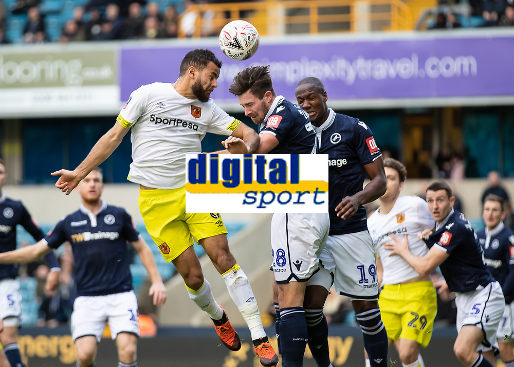 Football - 2018 / 2019 FA Cup - Third Round: Millwall vs. Hull City<br /> <br /> Kevin Stewart (Hull City) rises at the near post to glance his header across the face of the goal at The Den.<br /> <br /> COLORSPORT/DANIEL BEARHAM