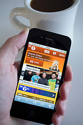 Listening to BBC Radio 1 on an iPhone 4G smart phone