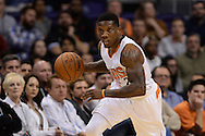 Nov 18, 2015; Phoenix, AZ, USA; Phoenix Suns guard Eric Bledsoe (2) dribbles the ball up the court against the Chicago Bulls at Talking Stick Resort Arena. The Bulls won 103-97. Mandatory Credit: Jennifer Stewart-USA TODAY Sports