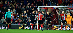 SUNDERLAND, ENGLAND - Monday, January 2, 2017: Liverpool's Dejan Lovren and Lucas Leiva look confused as referee Anthony Taylor awards Sunderland a SECOND penalty during the FA Premier League match at the Stadium of Light. (Pic by David Rawcliffe/Propaganda)