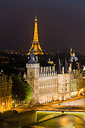 France. Paris. elevated view on Seine river, and  bridges. view  from The hotel de ville bell tower. Before to publish an image of the Eiffel tower lighting you should contact SETE; Mr Dieu at +33144112399 particularly for advertinsing.