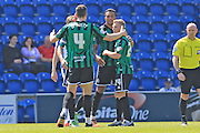 GOAL Nathaniel Mendez-Laing 0-1 during the Sky Bet League 1 match between Colchester United and Rochdale at the Weston Homes Community Stadium, Colchester, England on 8 May 2016. Photo by Daniel Youngs.