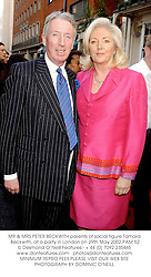 MR & MRS PETER BECKWITH parents of social figure Tamara Beckwith, at a party in London on 29th May 2002.	PAM 52