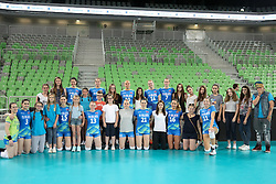 Players of Slovenia with volunteers during volleyball match between Slovenia and Slovakia in CEV European League Women on June 22, 2016 in Stozice, Ljubljana, Slovenia. Photo by Morgan Kristan / Sportida