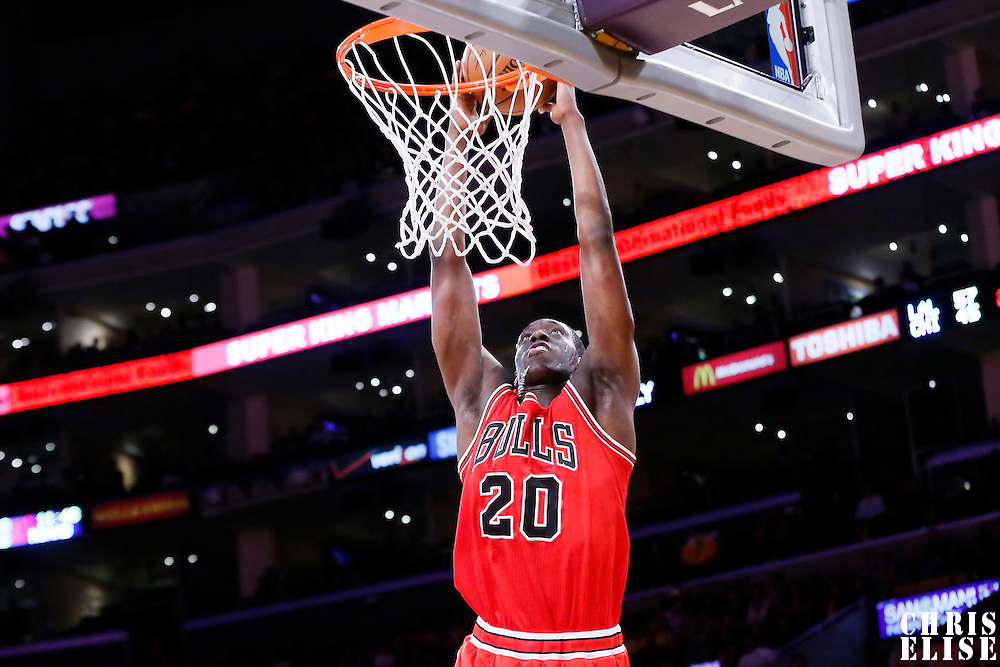 29 January 2015: Chicago Bulls forward Tony Snell (20) goes for the dunk during the Los Angeles Lakers 123-118 2OT victory over the Chicago Bulls, at the Staples Center, Los Angeles, California, USA.
