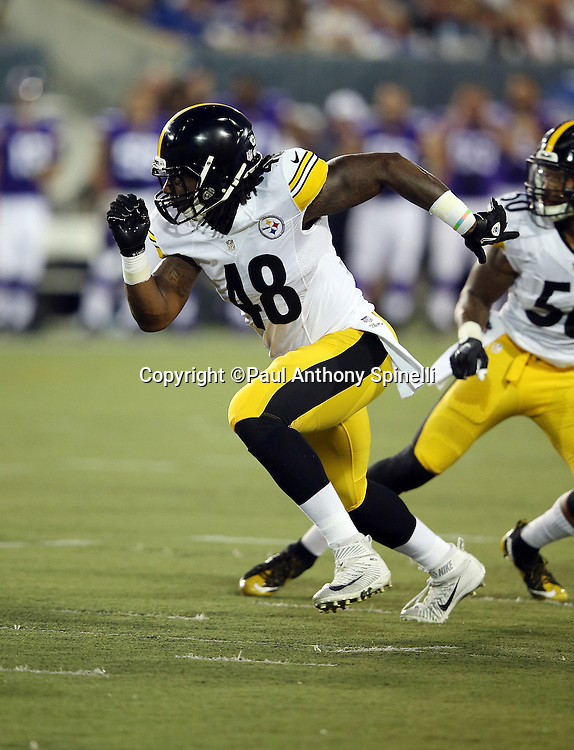 Pittsburgh Steelers linebacker Bud Dupree (48) chases the action during the 2015 NFL Pro Football Hall of Fame preseason football game against the Minnesota Vikings on Sunday, Aug. 9, 2015 in Canton, Ohio. The Vikings won the game 14-3. (©Paul Anthony Spinelli)